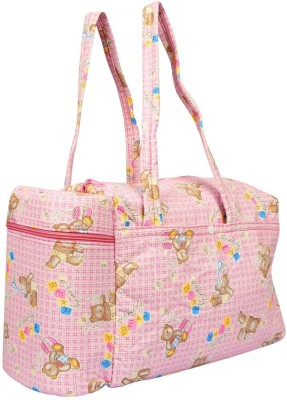 Babyofjoy Teddy And Checks Print Tote Diaper Bag and Bottle Warmer Attached