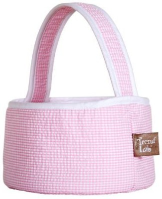 Trend Lab Pink Gingham Seersucker Collapsible Round Caddy Tote Diaper Bag(Pink)