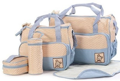 Sanghvi Enterprises Baby Bucket 5pcs/set Baby Diaper Bag Nappy Mummy Bag Print Maternity Handbag Changing Baby Messenger Bag Diaper Bag
