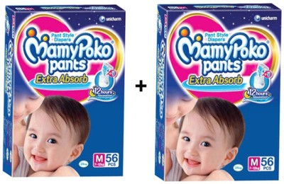 MAMY POKO EXTRA ABSORB PANT STYLE DIAPERS ( SET OF 02 PACKS OF 56 PCs) - MEDIUM
