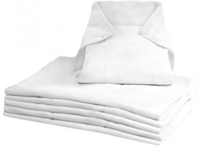 Kushies Pre-Fold Diapers White Pack of 6 - Infant, Toddler
