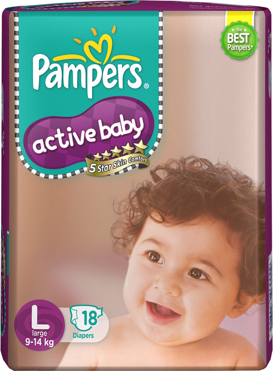 Pampers Active Baby Diapers - Large (18 Pieces)