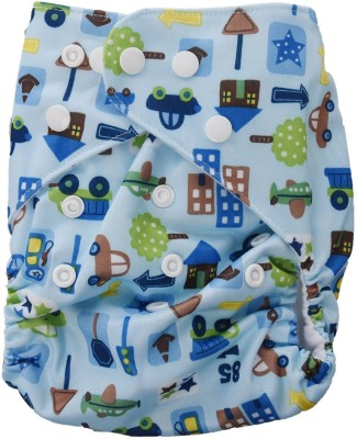 Baby Bucket All-In-One Bottom-bumpers Cloth Diaper (Printed Blue) - Medium