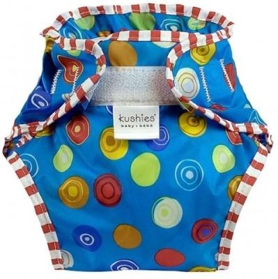 Kushies Taffeta Waterproof Diaper Wrap Crazy Circles Blue - Toddler