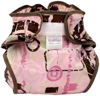 Kushies Taffeta Waterproof Diaper Wrap Groovy Square Pink - Toddler