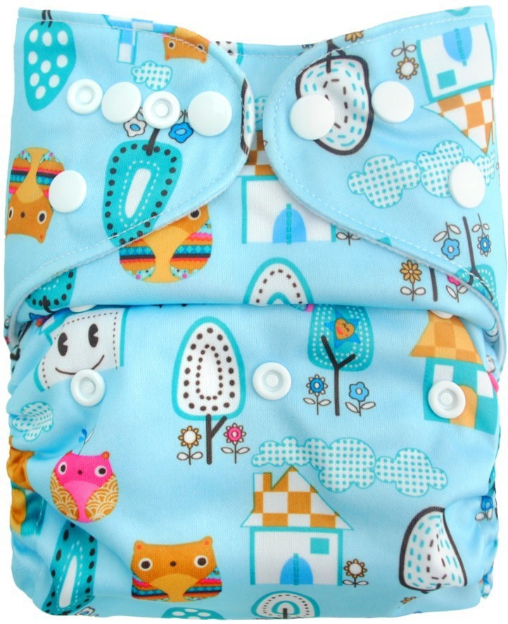 Carter's All in One Reusable Diaper Waterproof Reusable Swim Diaper One Size Nappy Blue/Owl - Free(1 Pieces)