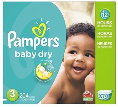 Pampers P&G Baby Dry Diapers Economy Pack Plus, Size 3, 204 Count - S(204 Pieces)