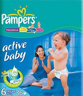 PAMPERS ACTIVE BABY DIAPERS (6) - LXXL - 36 (16KG) (UAE) - XL