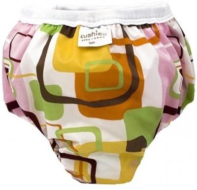 Kushies Taffeta Waterproof Training Pant Pink Groovy Squares - Small, Large