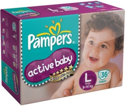Baby Bucket Pampers Active Baby Diapers Taped - Large