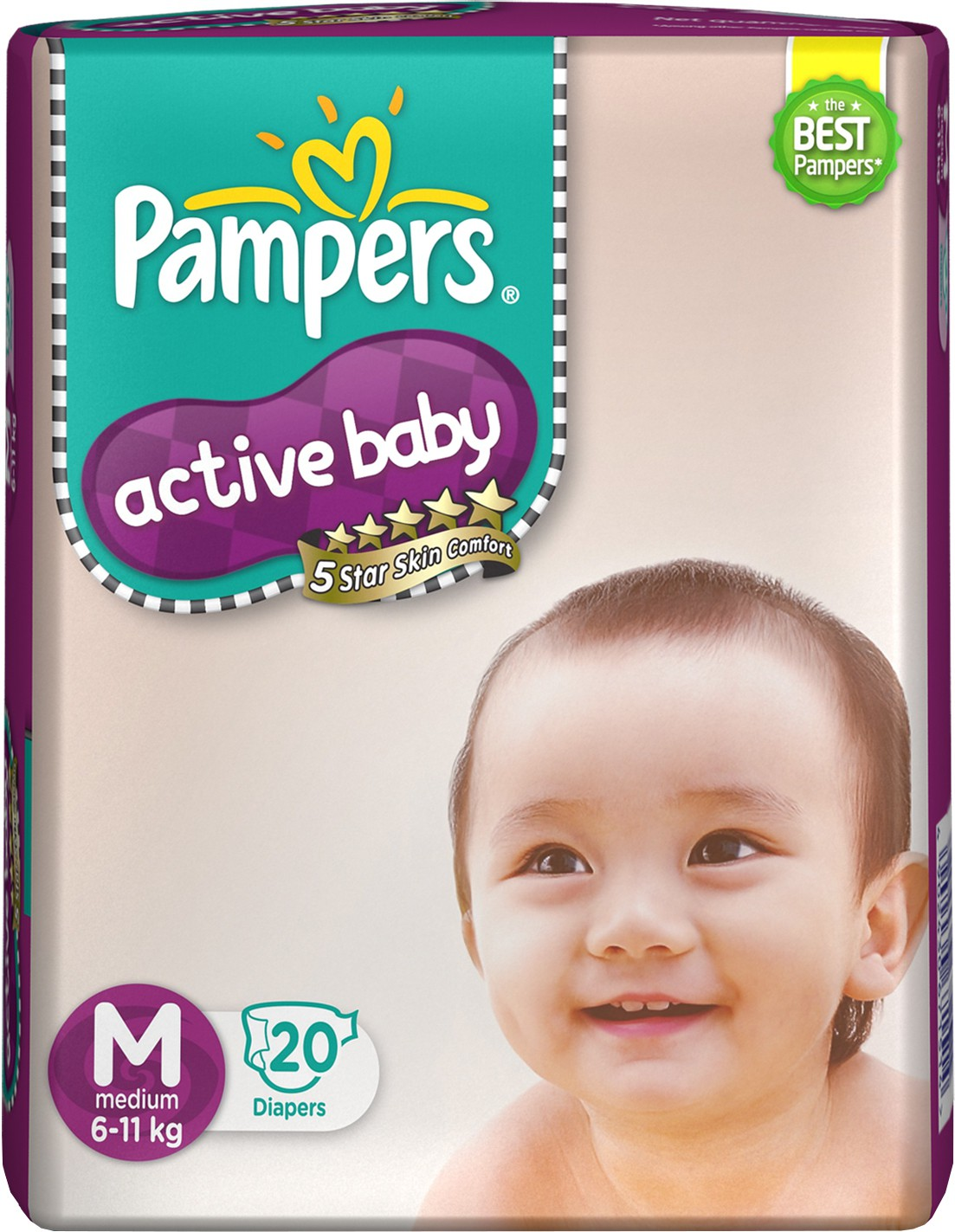 Pampers Active Baby Diapers - Medium (20 Pieces)