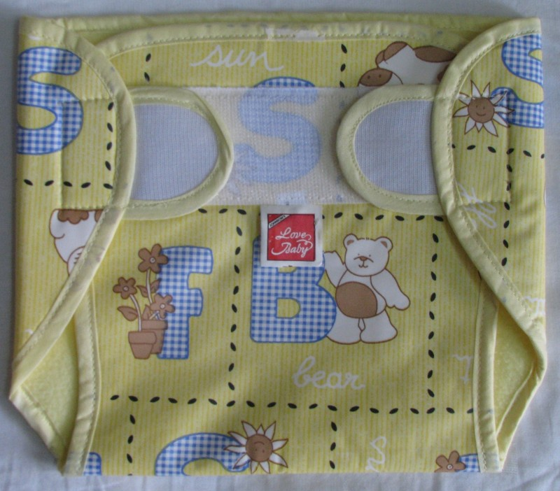 Love Baby Dry Quick Cloth with Plastic Diaper Yellow - XL(1 Pieces)
