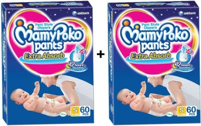 MAMY POKO EXTRA ABSORB PANT STYLE DIAPERS ( SET OF 2 PACKS OF 60 PCs) - SMALL-60