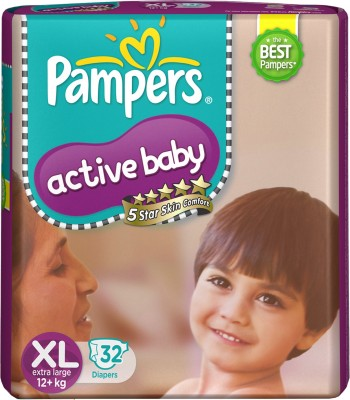 Pampers Active Baby Diapers - Extra Large(32 Pieces)