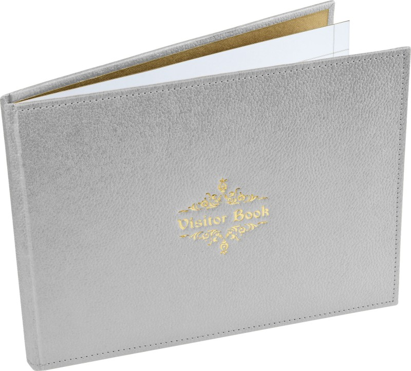 Ecoleatherette Regular Visitor's Book(Handcrafted, Silver)