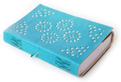 Lokalart Regular Journal(Leather Wrap Diary Embellished Cut Work With Handmade Paper | Leather Guest Book 8.5 X 5.5 Inches, Turquoise Blue)
