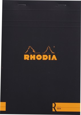 Rhodia A5 Note Pad(Basics Black R Stapled - No. 16 - A5 - 210 mm x 148 mm, Black)
