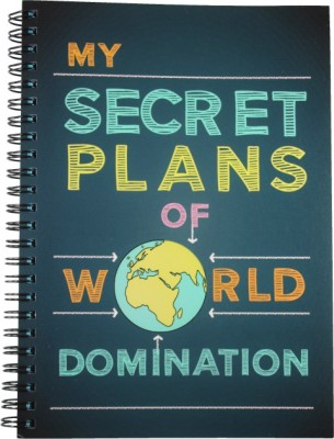 Nourish A4 Diary(My Secret Plans of World Domination Ruled Pages Big, Blue)