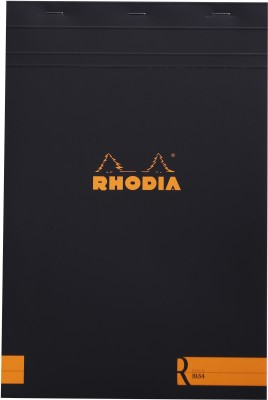 Rhodia A4 Note Pad(Basics Black R Stapled - No. 19 - A4+ - 318 mm x 210 mm, Black)