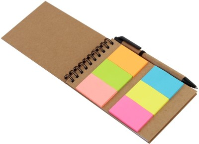 Pigloo Pocket-size Memo Pad(Assorted Color Sticky Notes with Diary & Ballpoint Pen, Multicolor)