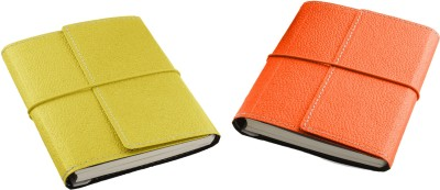 Ecoleatherette A6 Diary(Combo, Lime Yellow, Brunt Orange, Pack of 2)