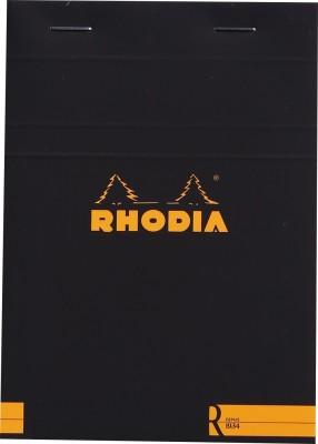 Rhodia A6 Note Pad(Basics Black R Stapled - No. 13 - A6 - 148 mm x 105 mm, Black)