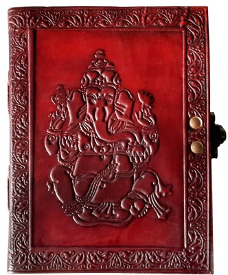 Indiavibes Handcrafted Ganesh Embossed Leather Journal/Notebook Regular Notebook Hand Sewn