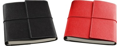 Ecoleatherette A5 Diary(Combo, Black, Red, Pack of 2)