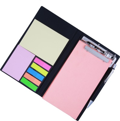 Coi MEMO NEON CORAL NOTE PAD/MEMO NOTE BOOK WITH STICKY NOTES & CLIP HOLDER IN DIARY STYLE A5 Memo Pad Soft Bound