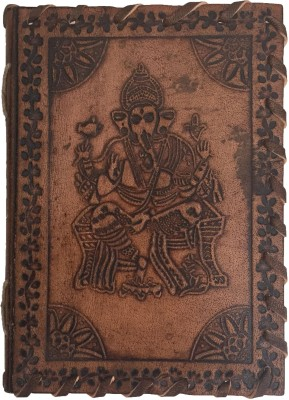 Rstore Mini Journal Handmade Ganesha Print Leather Cover Sallu Silai  12.8x9.1 Cm , Multicolor  available at Flipkart for Rs.329