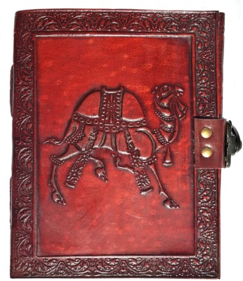 Indiavibes Regular Journal(Handcrafted Camel Embossed Leather, Maroon)