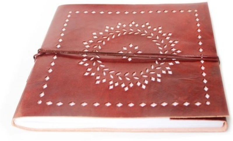 Lokalart Regular Visitor's Book(Handmade Leather Photo Album with Floral Cutwork Pattern- Tan Brown 10.2 x 9.44 inches, Tan Brown)
