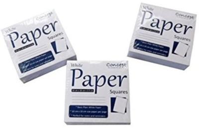 Concept Regular Memo Pad(Memopad Square,Price For Pack Of 3 ,Size10cmx10 Cmx2.5cm,Plain, White, Pack of 3)