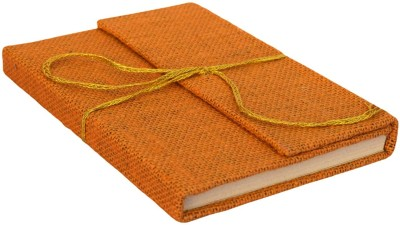 eShilp Regular Journal(Handmade Diary Jute Fabric Cover Pasted Binding with Flap Size 18x13x1.3 Cm, Light Orange)