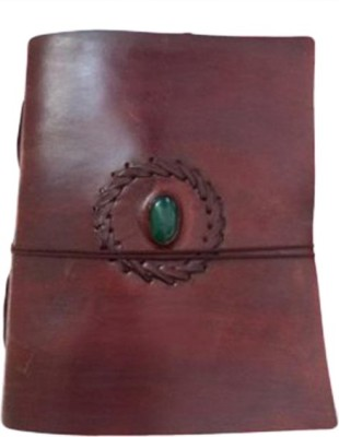 eShilp Regular Journal(Handmade Plain Leather Cover Diary-1stone-String Wrap Size 20x15x2.5 Cm Brown, Brown)