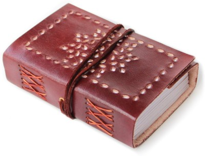 Lokalart Pocket-size Journal(Luxury Leather Diary With Cut Work, Writing Book 5.31 X 3.9 Inches, Brown)