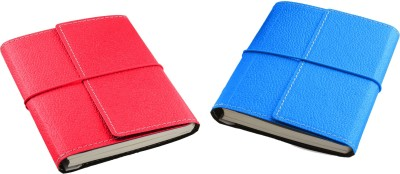 Ecoleatherette A6 Notebook(Combo, Dark Pink, Turquoise, Pack of 2)