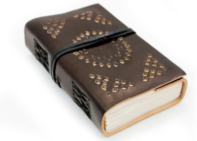 Lokalart Regular Journal(Engraved Leather Writing Diary With Geometric Cut Work 5.5 X 3.5 Inches, Tan Brown)