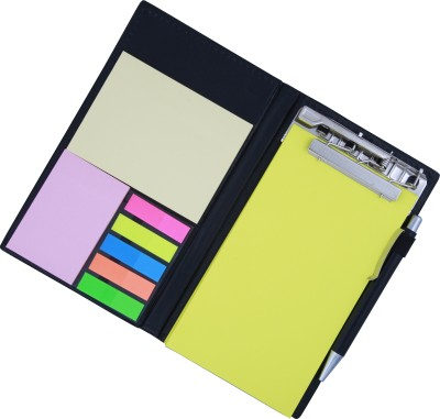 COI MEMO NEON LEMON GREEN NOTE PAD BOOK WITH STICKY NOTES & CLIP HOLDER IN DIARY STYLE A5 Memo Pad Soft Bound