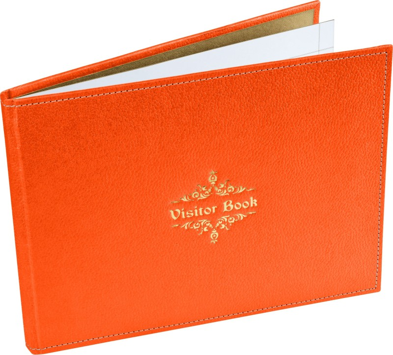 Ecoleatherette Regular Visitor's Book(Handcrafted, Orange)
