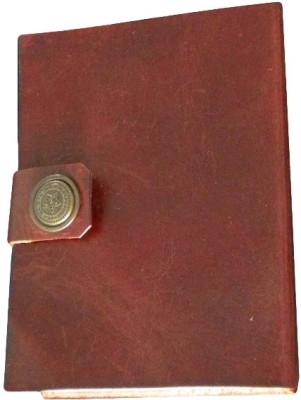 eShilp Regular Journal(Handmade Plain Leather Cover Diary-1 Strip Flap-Touch Button Closure Size 18x13x2.5 Cm Brown, Brown)