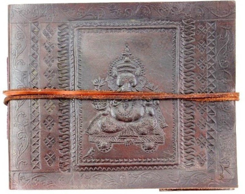 Lokalart Regular Visitor's Book(Leather Photo Album Wedding Guestbook Scrap Book- Ganesha 7 X 5.5 Inches, Dark Brown)