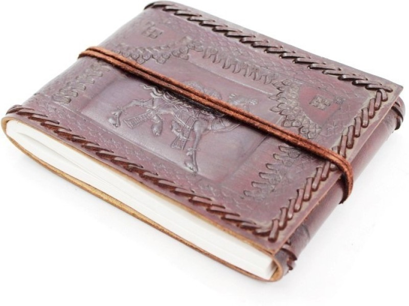 Lokalart Regular Visitor's Book(Brown Handmade Leather Photo Album Embossed with Camel Motifs 7 x 5.5 inches, Brown Handmade)