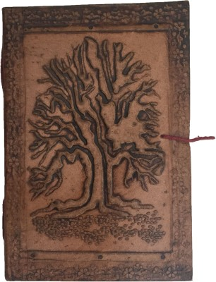 Rstore Regular Journal(Handmade Tree Print Leather Cover Diary With Flap, Multicolor)
