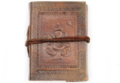 Lokalart Regular Journal(Leather Bound Writing Diary Embossed With Elephant God Motif 4.2 X 3.2 Inches, Dark Brown)