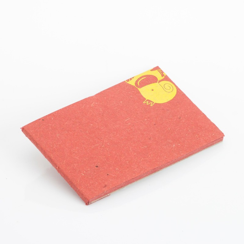 Haathi Chaap Pocket-size Note Pad(Recycled Handmade, Red)