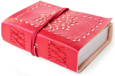 Lokalart Pocket-size Journal(Luxury Leather Diary With Cut Work, Writing Book 5.31 X 3.9 Inches, Red)