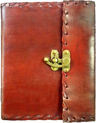 Indiavibes Regular Journal(Handcrafted with Border Leather Lacing Notebook, Maroon)