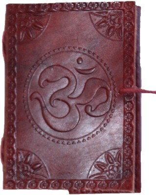 Rstore Mini Journal(Handmade Om Print Leather Cover Diary With Flap (4x3 inch), Multicolor)