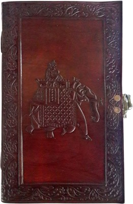 Indiavibes Regular Journal(Handcrafted Elephant Embossed Big Leather Journal/Notebook (Lock), Maroon)